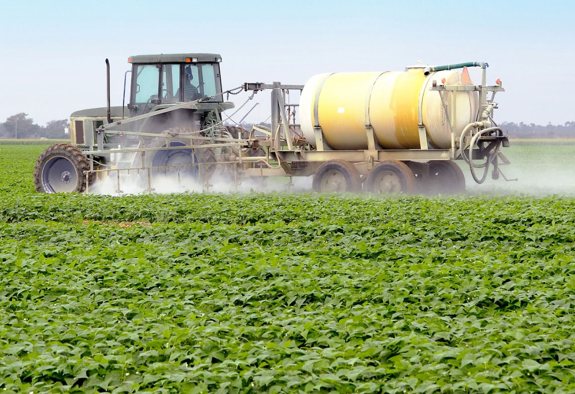 Crops sprayed with pesticides